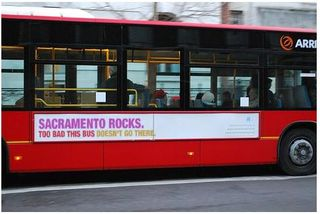 Sacramento rocks bus slogan
